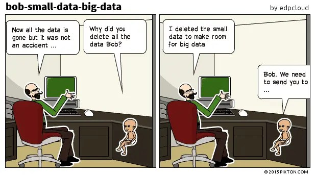 bob deletes small data to make room for bigdata
