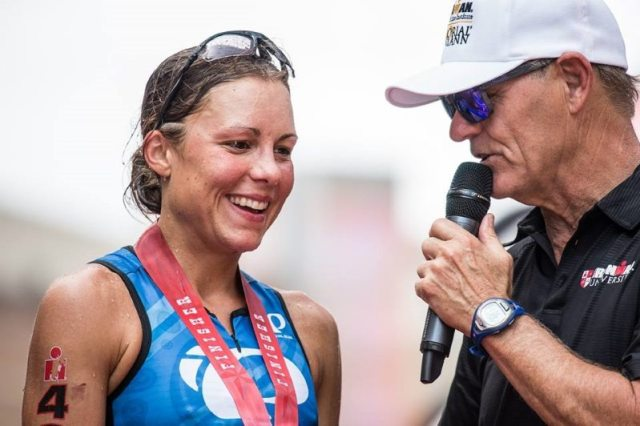 Angela Duncan Naeth at IRONMAN Texas - with Mike Reilly
