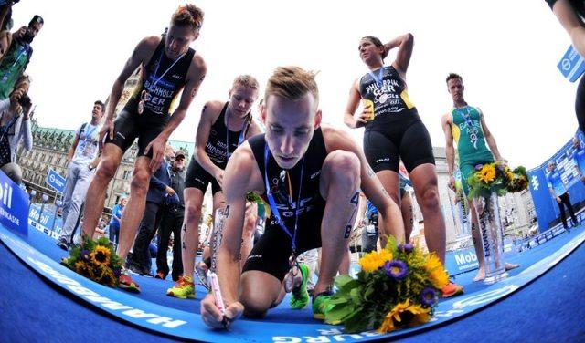 German athletes sign in at ITU Mixed Relay World Championships in Hamburg - photo credit ITU-Janos Schmitt