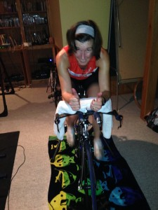 Brenda Ross on the bike trainer