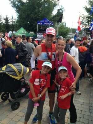 Ironman® Mont Tremblant -- Coach Patrick at the Finish with Endurance Nation Superfans!