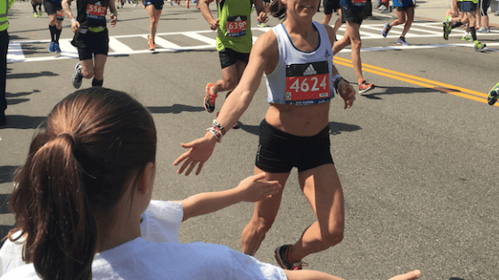Hi Five Time at the Boston Marathon
