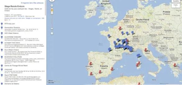Carte des centres TT stages et randos