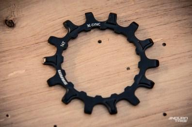 À l'avant, Sram propose des couronnes aux dentures alternées dans le même esprit que le 1x développé pour le VTT classique. 14, 16 ou 18 dents pour les motorisations Bosch, et 34 dents pour la motorisation Brose. PPC : 20€