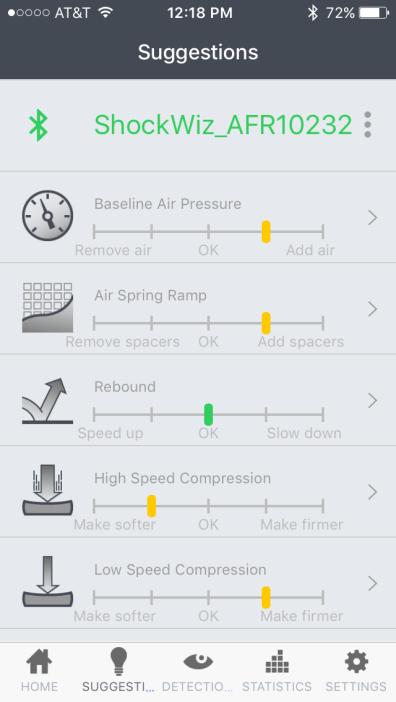 C'est enfin la page de suggestion qui est utile. Elle indique quel réglage modifier, et dans quelle mesure. Vert = ok, jaune = 2 à 3 clics, rouge = plus de 3 clics. En cliquant sur chacun, plus de détails sur la procédure à suivre sont distillés.