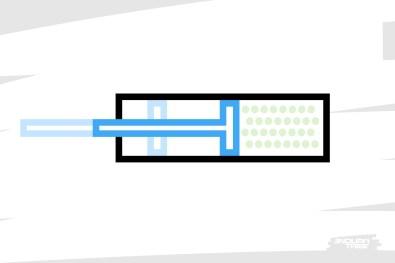 Lorsque le piston réduit le volume de la chambre, l'air se comprime, sa pression augmente.