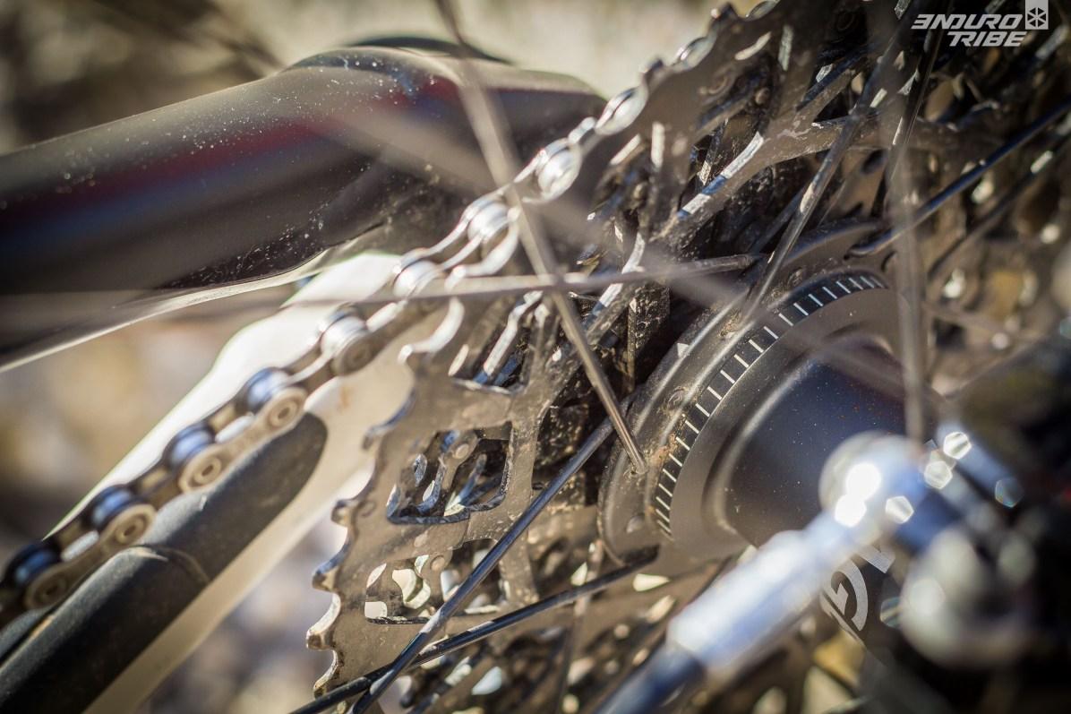 Fait très rare sur un vélo de ce niveau de gamme : moyeu à 54 points d'engagement. Nous nous devions de le mettre en évidence.