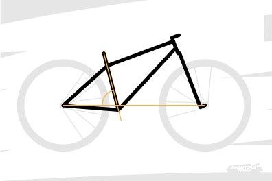 """Pour boucler le triangle arrière, c'est """"l'angle de selle"""" qui importe : celui formé par le tube de selle et l'horizontale."""