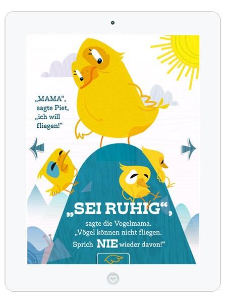 Kinderbuch-App mit süßem Vogel Piet– Typografie