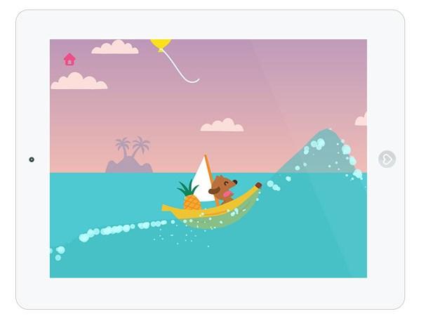 Unterhaltsame Kinderapp zum Bootfahren