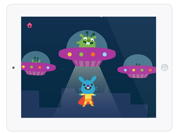 Schöne App für Kinder mit einem fliegenden Superheld