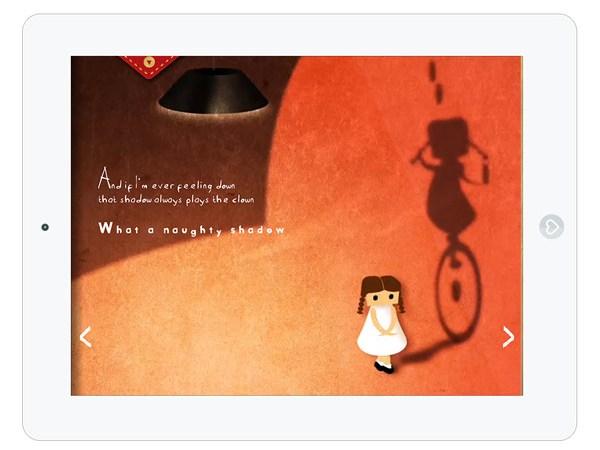 Eine schöne Kinderbuch App über einen frechen Schatten
