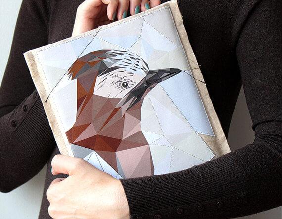 Tablet Hülle mit Vogelmotiv aus Baumwolle – handgemacht