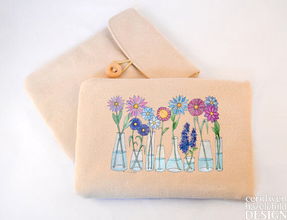 Tablet Sleeves mit Illustration – Blumen