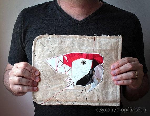 Tablet Hülle mit Vogelmotiv aus Baumwolle
