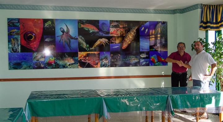 Un mural con fotos de enelmar.es decora el restaurante El Trasmallo en Garachico