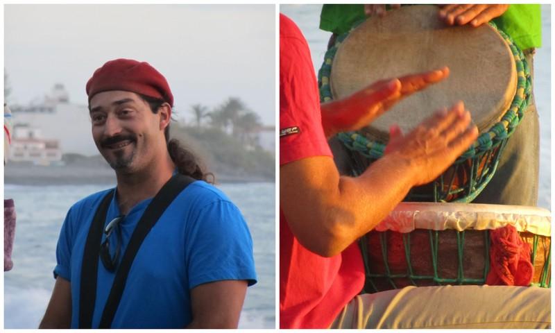 Män som spelar bongotrummor