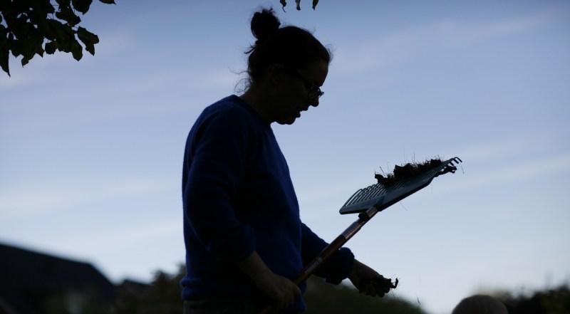 EnEmilia rensar i trädgården höstbilder