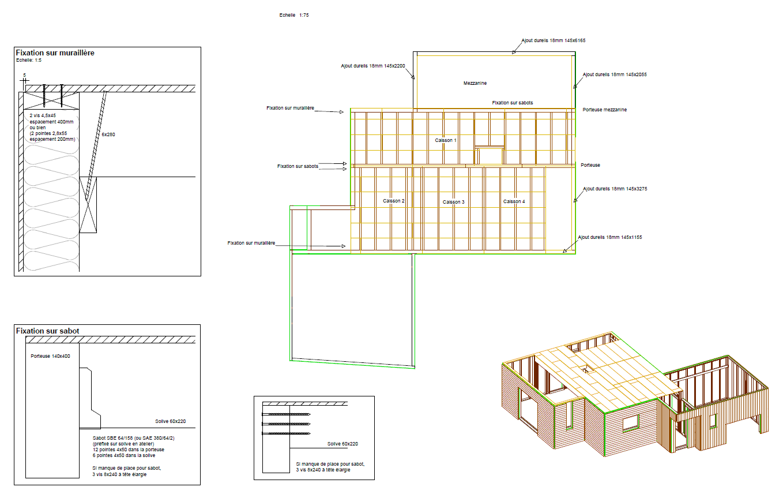 plan fabrication maison ossature bois