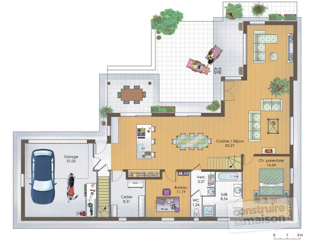 plan maison bois 120m2