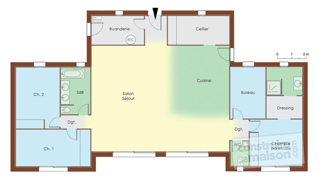 plan maison bois 3 chambres