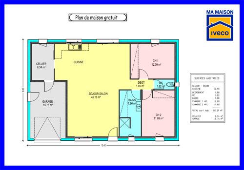 plan maison bois 6 chambres