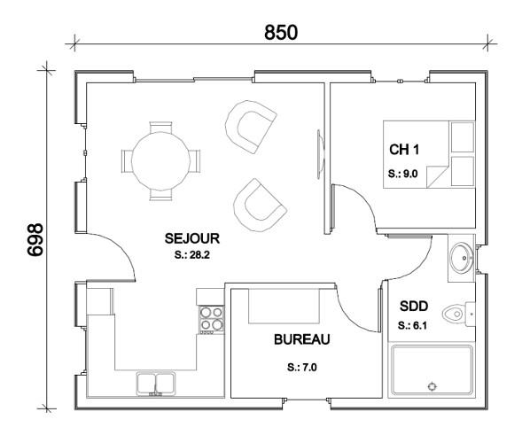plan maison bois 90m2