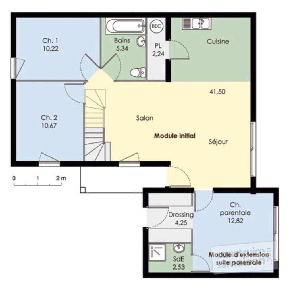 plan maison bois carre