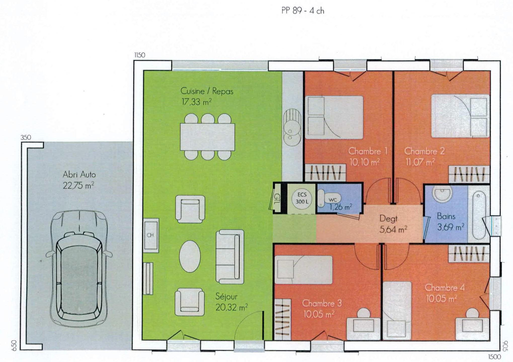 plan maison en bois plain pied