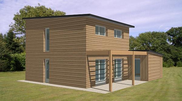 plan maison ossature bois moderne