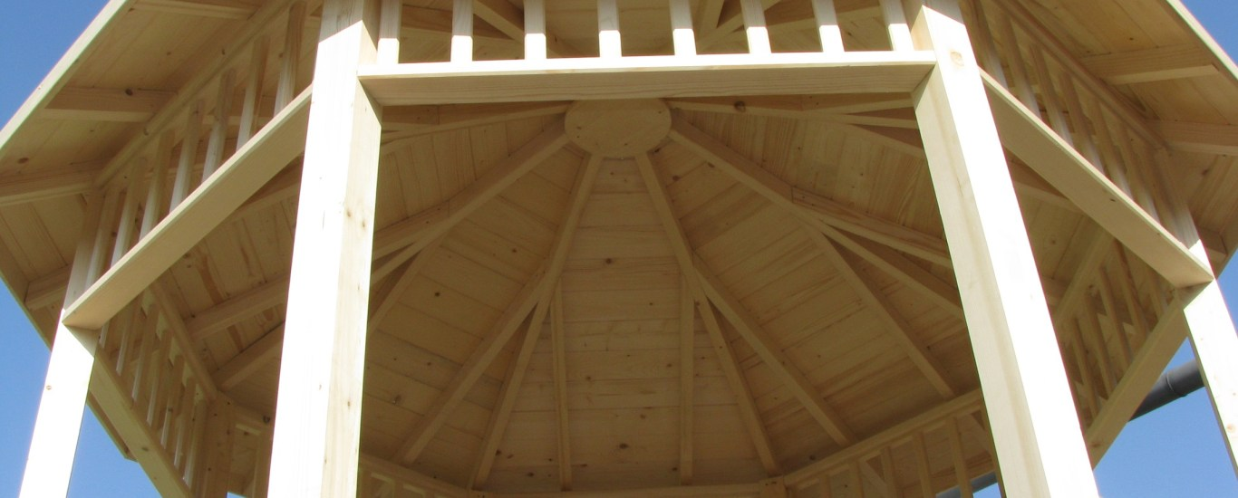 plan pergola bois hexagonale