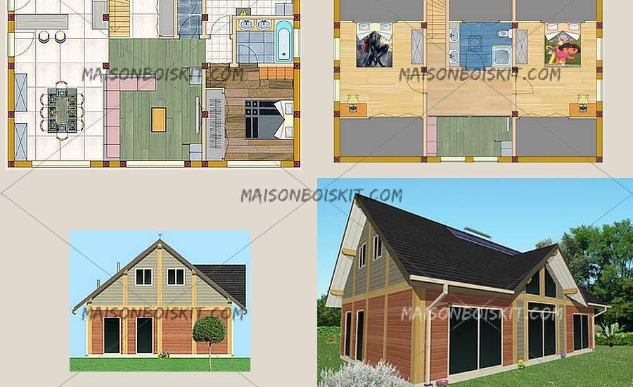 Plan maison bois plain pied 100m2 la biomasse notre energie - Plan maison en bois plain pied ...