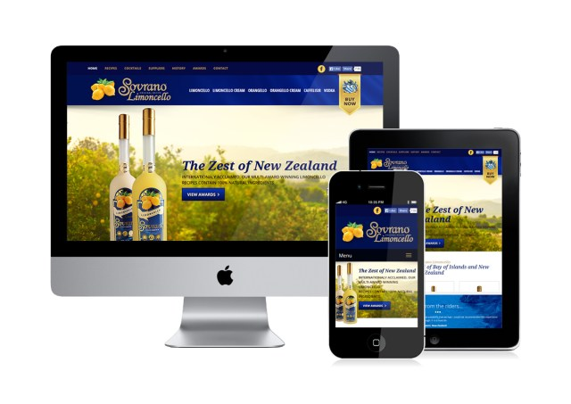 Sovrano Limoncello mobile website on three different screens