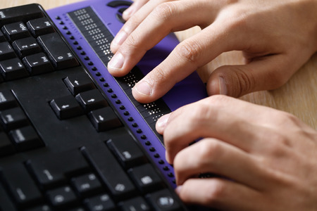 Blind person using a computer
