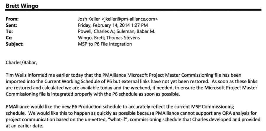 Email from Josh Keller to Powell and Suleman CC Wingo Feb 2014
