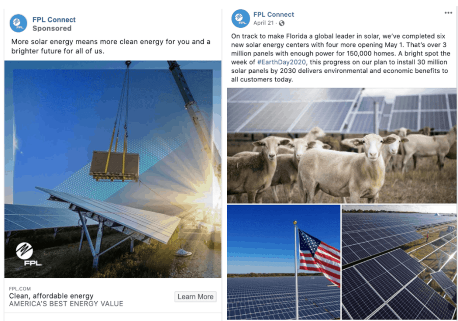 FPL social media shows ads and posts about their solar programs