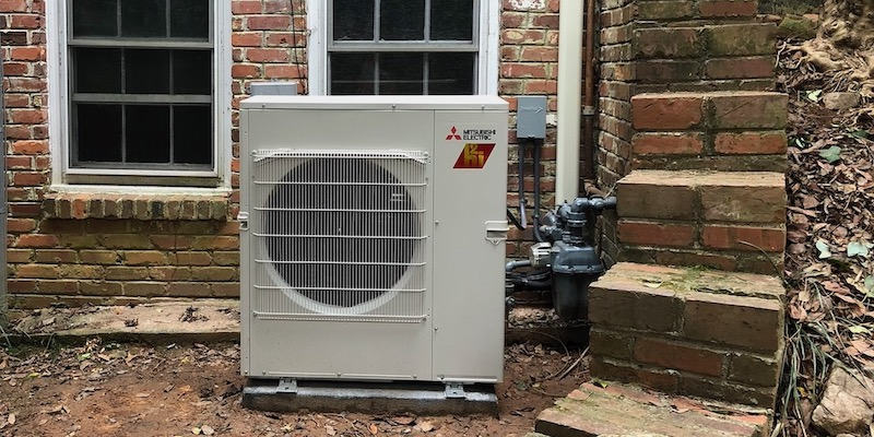 The outdoor unit for our Mitsubishi inverter-driven mini-split heat pump system