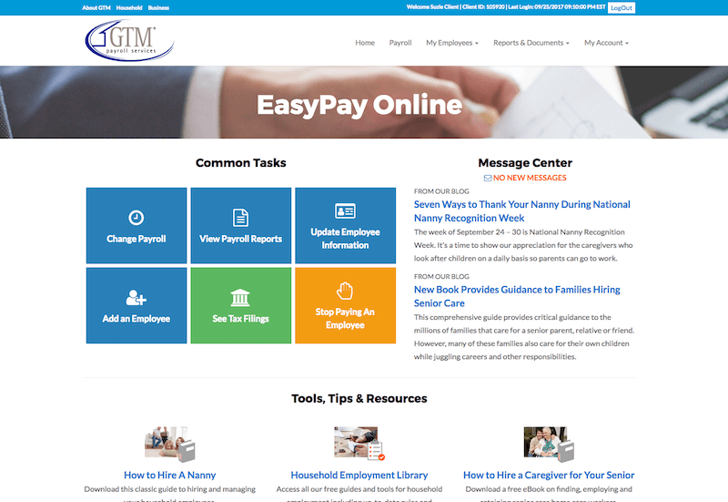 EasyPay Online's Updated Home Page following user feedback