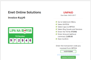 Validating MPESA Payment