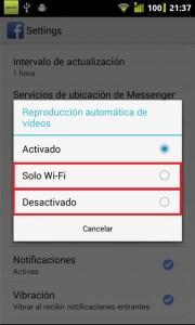 Seleccionar Wifi o Desactivado