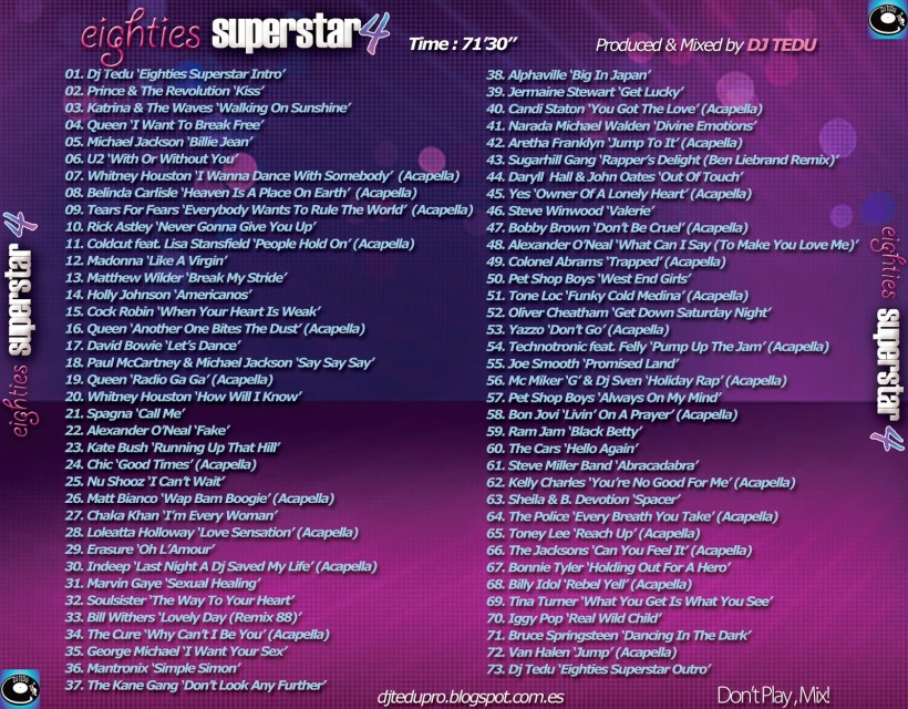Tracklist del Eighties Superstar 4