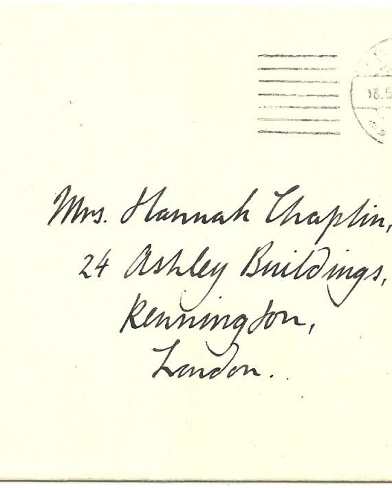 Forgery cancel 1d. imperf. to Hannah Chaplin