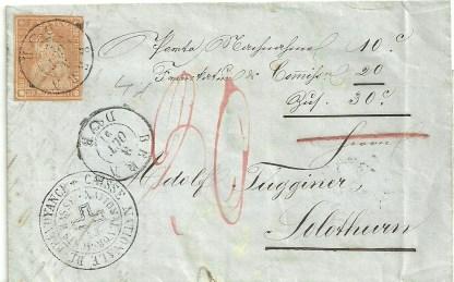Switzerland 1857 20c.Orange