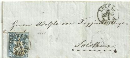 Switzerland 1862 E.to Solothurn 10r.Blue