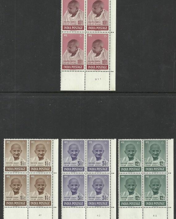India 1948 Mahatma Gandhi UM plate blocks of four pristine