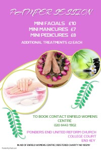 Poster advertising Pamper Sessions at EWC