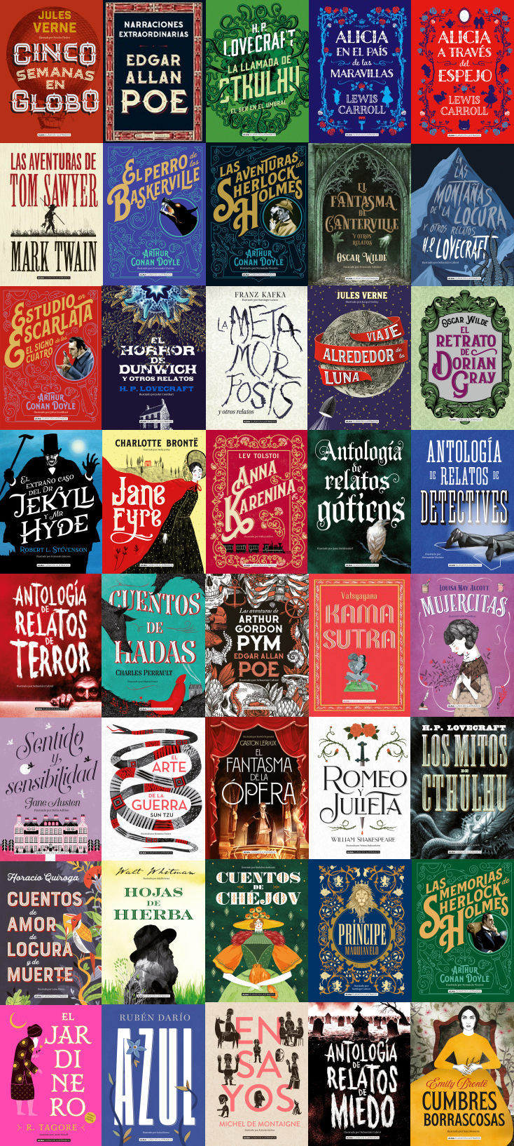 Selección de portadas de libros de la editorial Alma Clásicos Ilustrados. Editoriales que destacan por el diseño de sus libros. La Gauss