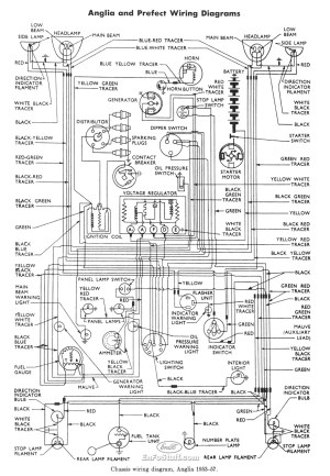Wiring Diagram for Ford Anglia 195357