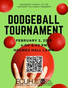 Flyer for ECUH dodgeball tournament featuring a hand holding a dodgeball.