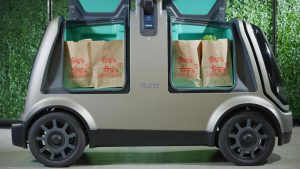 Fry's Groceries inside a Nuro R1